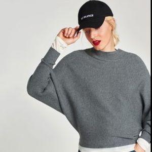 Zara Charcoal Gray Batwing Cropped Sweater